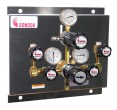 Prepínacia stanica model P5 vybavená regulátory rady 400 pre prepínanie tlakových fliaš